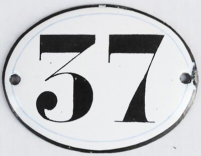 Old oval French house number 37 door gate plate plaque enamel steel metal sign