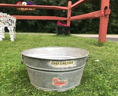Vintage Galvanized Water Bucket/ Flower/feed/veggies/basin/pail