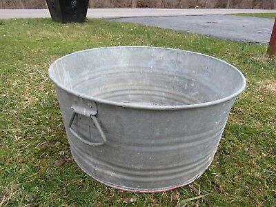Vintage Galvanized Fireplace Coal / Ash Flower/water Bucket Pail Can