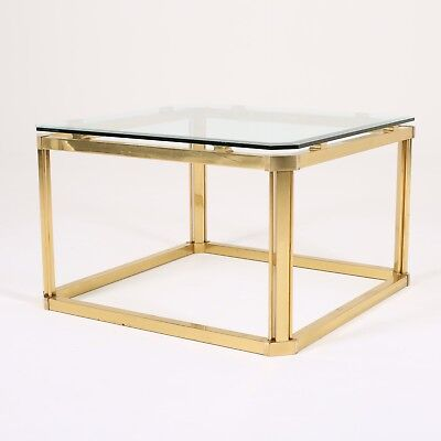 Italian Midcentury Brass Occasional Coffee Side Table Hollywood Regency 1970's