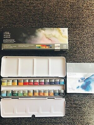 Winsor Newton Artists' Professional 24 Half Pans Watercolour Set
