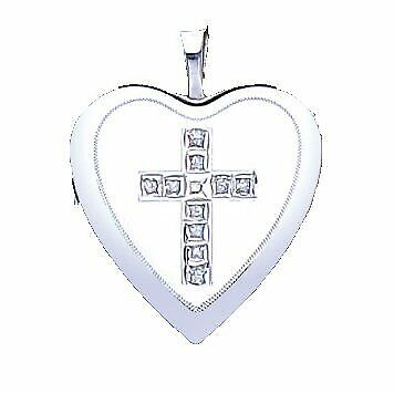 TOC Sterling Silver Platinum Plated Crystal Set Cross Heart Locket Necklace 18""