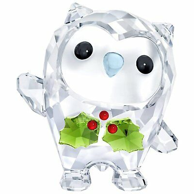 Swarovski 5393324 Hoot-Happy Holidays, A. E. 2018, Clear Crystal with Red/Green