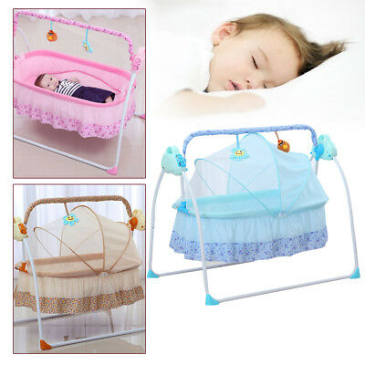 New Baby Sleeping Bed Electric Swing Rocking Cot Cradle Safe Crib Music Pillow