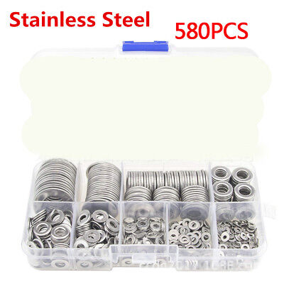 580X Stainless Steel Flat Washers Kit For M2 M2.5 M3 M4 M5 M6 M8 M10 Screws Bolt