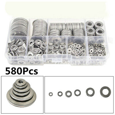 580Pcs High Quality New Stainless Steel Flat Washers Kit For M2-M12 Screws Bolt