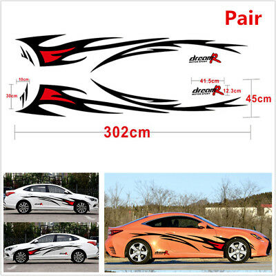Pair Car Styling Flame Graphics Design Car Body Decor Decal Waterproof Black+Red