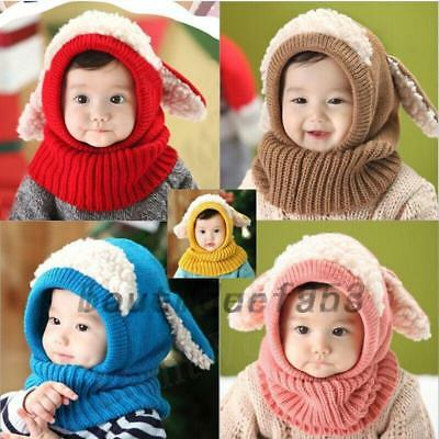 Cute Baby Girls Boys Winter Dog Shape Warm Hat Cap Kids Hooded Scarf Earflap