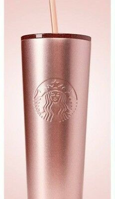 Starbucks 2018 Holiday Rose Gold Glitter Lid Stainless Steel Tumbler Cup