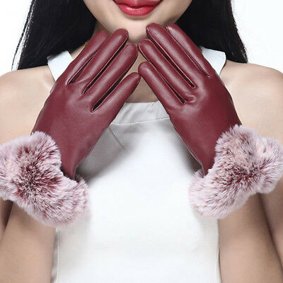 PU Leather Faux Fox Wool Comfortable Touch Screen Driving Thermal Gloves YT