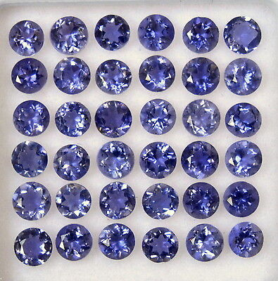 Natural Iolite Round Cut 3 mm Lot 25 Pcs 2.23 Cts Lustrous Loose Gemstones