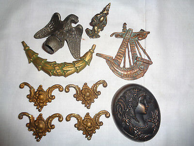 Mixed Lot Vntg / Antique Salvaged Ormolu Hardware Furniture/chests/lamps Etc