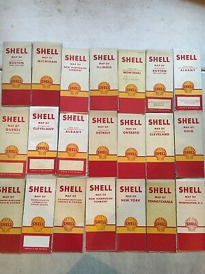 Vintage 1950's Shell Gas Station Road Maps Collection Of 21