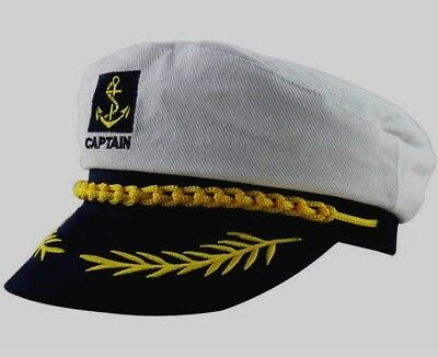 SAILOR CAP CAPTAIN Hat Adult Sea Boat Yacht Ship Navy White Hats Party  Cosplay