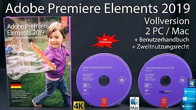 Adobe Premiere Elements 2019 Vollversion Box + DVD Win/Mac + Anleitung OVP NEU