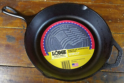 "2018 American Flag Made In America Series 10 1/2"" Lodge Mfg Cast Iron Skillet"