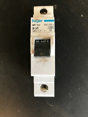Hager MCB 20 Amp Single Pole Circuit Breaker Type B20 MT 120 450120
