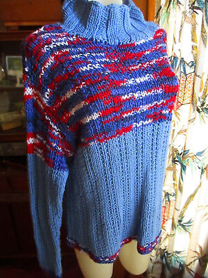 XL True Vtg 70s HAND KNIT WITH LOVE WIDE NECK Groovy Hippy Sweater RED/WHITE/BLU