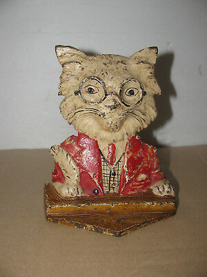 Antique 1900's Very Rare Hubley Cast Iron White Cat with Glasses Door Stopper