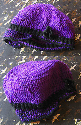 HAND KNIT CROCHETED W/LOVE True Vtg 70s WOOL PURPLE HIPPIE FLOP WINTER CAP HAT