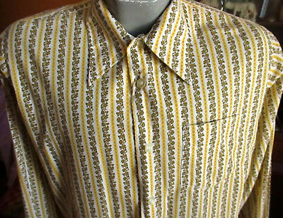 NEW NWOT MEDIUM TRUE VTG 70s GOLD FLORAL STRIPE Mens MOD SHIRT ELY