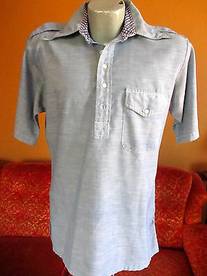 MEDIUM TRASHED RELIC True Vtg 70's Mens CHAMBRAY BLUE HIPPIE POCKET SHIRT