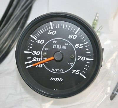 OEM Yamaha 6Y7-83510-00 Mechanical Speedometer 75mph ProSeries II Outboard Black