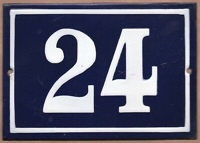 Large old blue French house number 24 door gate plate plaque enamel metal sign