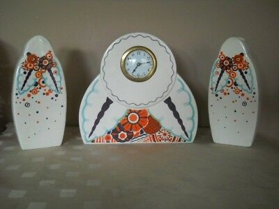 Vintage French Decorated white porcelain Mantel Clock  with two vases - Set