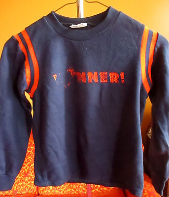 True Vtg 1970's Boys Sz 10 FOOTBALL SWEAT SHIRT RINGER FOOTBALL MADE IN USA