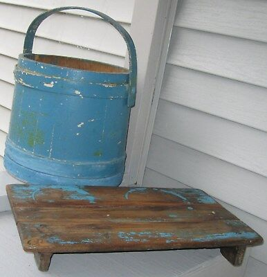 Antique/Primitive Rustic Wooden Table Riser Old Blue Paint