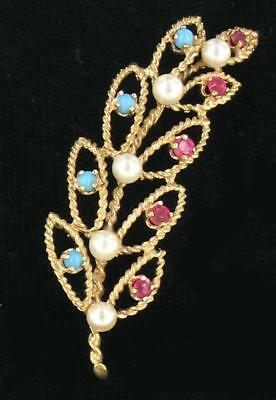 """Vintage 14k Gold Filigree Ruby Persian Turquoise Pearl Leaf Open Work Pin 2.25"""""""