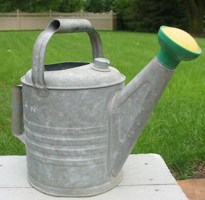 Vintage Galvanized Watering Can Metal Garden Sprinkler Twist Head Pour Spout Old