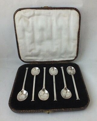 Boxed Set of 6 Solid Sterling Silver Espresso Coffee Spoons 1925/ L 8.8 cm