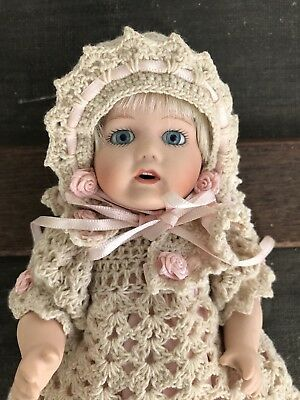 """Patricia Loveless Doll Antique Repro Reproduction Blonde 8"""" Gown Hat"""