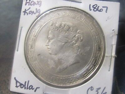 Rare Coin 1867 Hong Kong One Dollar Km10 .900 Fine Silver 26.9 Grams Rare Coin