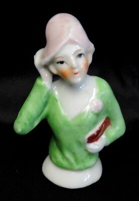 Vintage Porcelain Half Doll Pincushion / Broom Flapper Girl Marked Japan