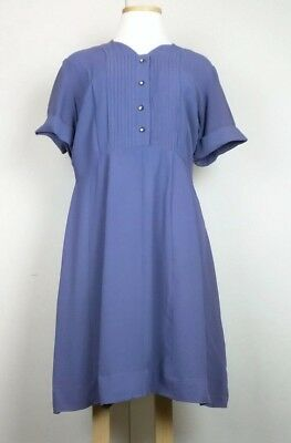Vintage 50s Day Dress Blue Gray Rayon Short Sleeve Misses XL Lane Bryant