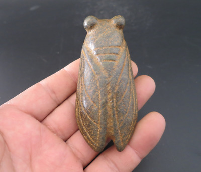 Old Chinese HongShan culture jade hand-carved cicada amulet pendant Y4460