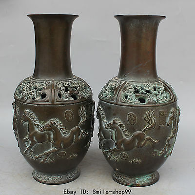 """14"""" Old Marked Chinese Bronze Successful Running 8 Horse Vase Bottle Pair Statue"""