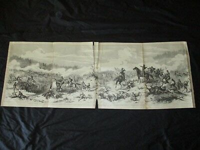 1898 Large Panorama Civil War Print - Battle of Shiloh, Tennessee