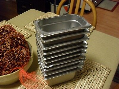Lot of 10 1/9th Heavy Duty Stainless Steel Steam Table Hotel Pans Restaurant Pre