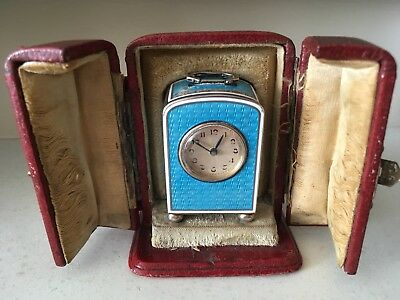 Silver and blue guilloche enamel miniature carriage clock with Round Dial