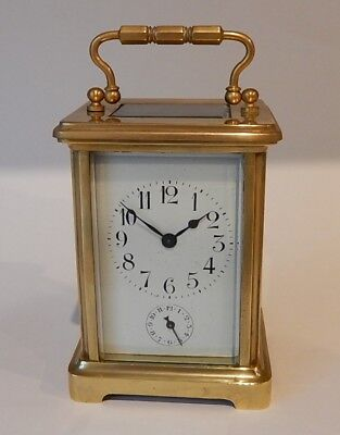 French Victorian Brass Case Alarm carriage Clock Fully Working 2884