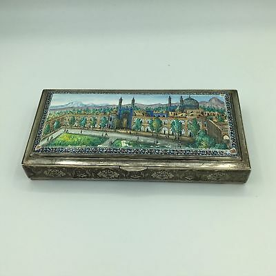 Vintage Bagher Parvaresh Islamic Persian Hand Enameled Solid Silver Box