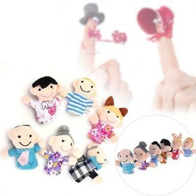 6pcs Baby Kids Plush Cloth Play Game Learn Story Family Finger Puppets Toys MT