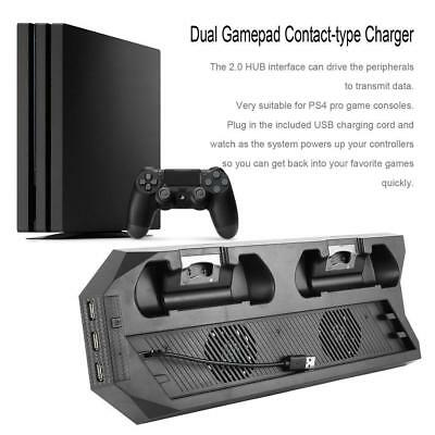 For PS4 Pro Cooling Fans Station Vertical Stand w/ 2 Controller Charging Dock MT