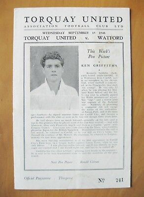 TORQUAY UNITED v WATFORD 1948/1949 *Good Condition Football Programme*