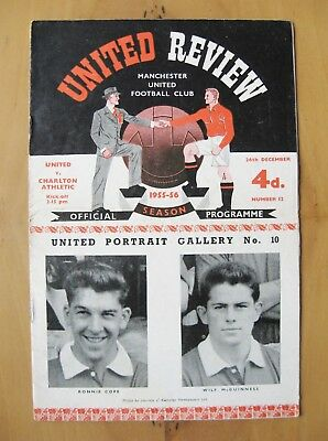 MANCHESTER UNITED v CHARLTON ATHLETIC 1955/1956 *Good Cond Boxing Day Programme*