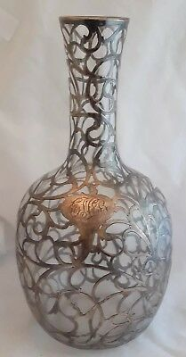 Art Nouveau Sterling Silver Overlay Wine Decanter Bottle